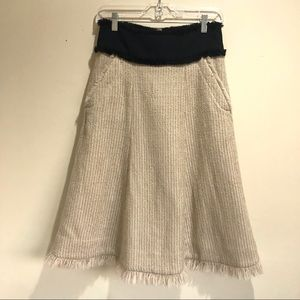Tory Burch Mcilvain Wool Fringe Skirt Cafe Latte 2
